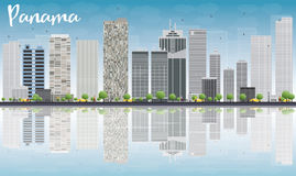 Panama City skyline with grey skyscrapers and reflections Stock Images