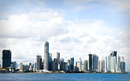 Panama City Skyline. With the ocean and buildings Stock Photography