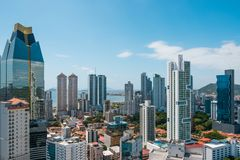 Panama City Skyline panorama from high viewpoint - modern cityscape - royalty free stock photos