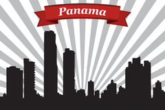 Panama city skyline with rays background and ribbon Stock Photography