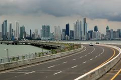 Panama City skyline. Seen from the sea royalty free stock images