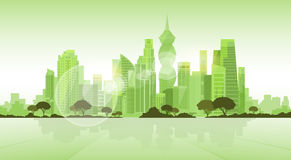 Panama City Skyscraper View Cityscape Background Skyline Green Silhouette with Copy Space Royalty Free Stock Photo
