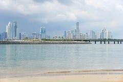 Panama City skyscrapers skyline viewed from beach Stock Photography