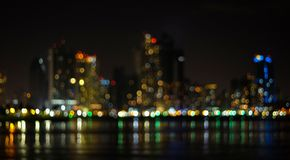 Out of focus abstract night cityscape. royalty free stock photography