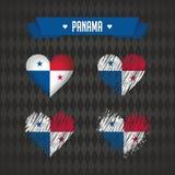 panama Collection de quatre coeurs de vecteur avec le drapeau Silhouette de coeur illustration libre de droits