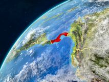 Panama on Earth with borders. Panama on realistic model of planet Earth with country borders and very detailed planet surface and clouds. 3D illustration royalty free stock photo