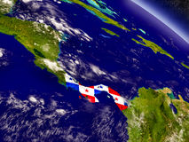 Panama with embedded flag on Earth Royalty Free Stock Photo
