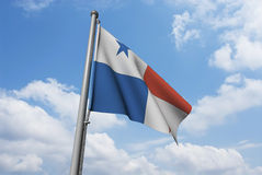 Panama Flag with Clouds Stock Photography