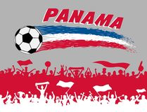 Panama flag colors with soccer ball and Panamanian supporters si. Lhouettes. All the objects, brush strokes and silhouettes are in different layers and the text Stock Images