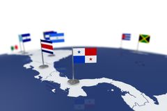 Panama flag. Country flag with chrome flagpole on the world map with neighbors countries borders. 3d illustration rendering flag Royalty Free Stock Photo