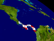 Panama with flag on Earth Stock Images