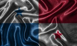 Wallpaper by Panama flag and waving flag by fabric. royalty free stock images