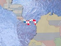 Panama with flag on globe Royalty Free Stock Photography