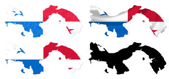 Panama flag over map collage Royalty Free Stock Photos