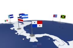 Panama flag. Country flag with chrome flagpole on the world map with neighbors countries borders. 3d illustration rendering flag Stock Photo