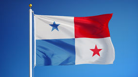 Panama flag in slow motion seamlessly looped with alpha stock video footage