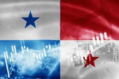 Panama flag, stock market, exchange economy and Trade, oil production, container ship in export and import business and logistics. America, background, banner royalty free illustration