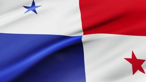 Panama flag waving in wind video footage  Realistic Panama Flag background. Panama Flag Looping Closeup royalty free illustration