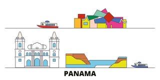 Panama flat landmarks vector illustration. Panama line city with famous travel sights, skyline, design. Panama flat landmarks vector illustration. Panama line vector illustration