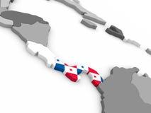 Panama on globe with flag Stock Image