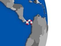 Panama on globe with flag Stock Photo