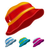 Panama Hat. Set of colored panama hats. Vector Illustration Royalty Free Stock Photo