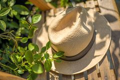 Panama hat on chair Stock Photography