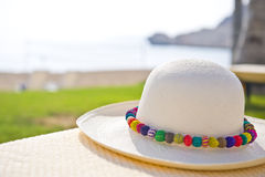 A Panama hat with colorful brim Stock Photo