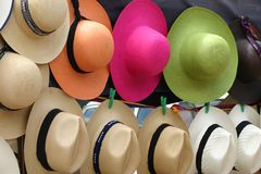 Panama hats. On Otavalo Fair Stock Photo