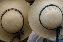 Panama hats. On Otavalo Fair Royalty Free Stock Images