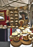 Panama hats at fair market stall Stock Photos
