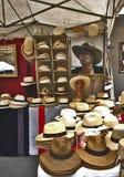 Panama hats at fair market stall Stock Photos
