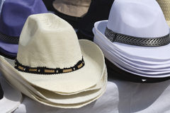 Panama hats for sale Stock Image