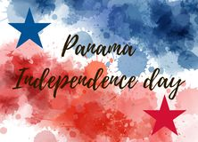 Panama Independence day background with watercolor splashes. Panama Independence day. Abstract watercolor splashes background in national flag colors with stars vector illustration