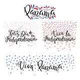 Panama Independence Day quotes. Set of hand written calligraphic Spanish lettering quotes for Panama Independence Day with stars, confetti, in flag colors Stock Image