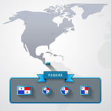 Panama info card. Panama on the map of North America with flags Stock Photos