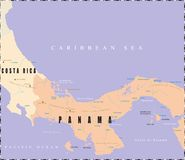 Panama Map. Royalty Free Stock Photos