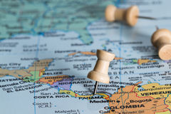 Panama on a map. Close up of the central america area with panama in sharp focus stock photos