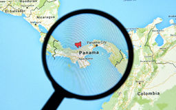 Panama on a map Royalty Free Stock Images