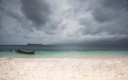 Panama native boat San Blas islands Stock Image