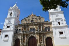 Panama Old Town casco Viejo in Panamá. Beautiful picture of the main cathedral of Panamá in the old part of the city called casco Viejo with christmas stock photo