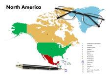 Panama op de kaart van Noord-Amerika Stock Fotografie