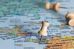 Panama op een kaart Stock Foto's