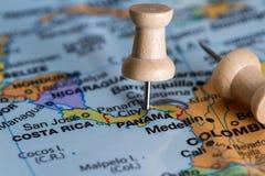 Panama op een kaart Stock Foto