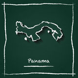 Panama outline vector map hand drawn with chalk. Royalty Free Stock Images
