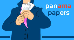 Panama Papers Business Man Hide Private Document Suit Concept Offshore Royalty Free Stock Images