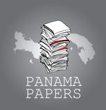 Panama Papers. Documents on shades of grey and panama map vector illustration