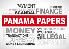 Panama papers scandal 2016 - word cloud graphic. Word cloud about the Panama papers scandal Royalty Free Stock Image