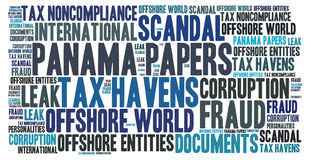 Panama papers word cloud concept. Illustration Stock Photography