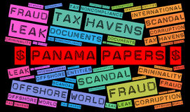 Panama papers word cloud concept. Illustration Stock Images